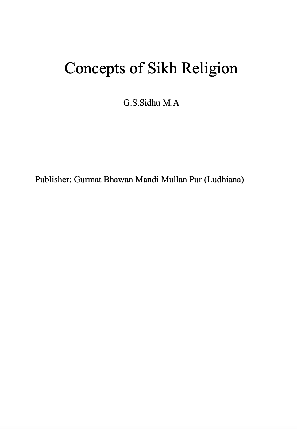 Concepts of Sikh Religion