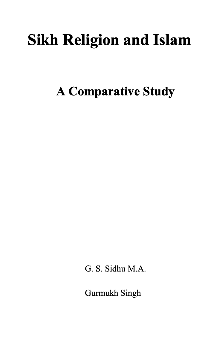 Sikh Religion & Islam: A Comparative Study